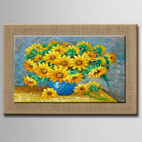 100 Hand Painted Nature Linen Oil Painting Sunflower Art Wall Picture For Living Room Hotel Decor