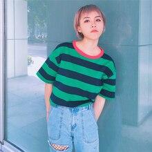 Корейский Новый Harajuku футболка Женские повседневные футболки летние топы с круглым вырезом короткий рукав свободная майка женская в полоску Футболки