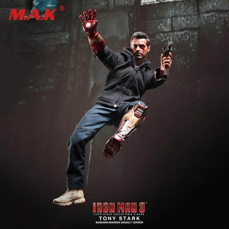 1/6 Bilancia Set Completo Iron Man 3 Tony Stark (Il Meccanico) danneggiato Versione del Modello Giocattoli per il Regalo di Raccolta MMS209 Con La Scatola