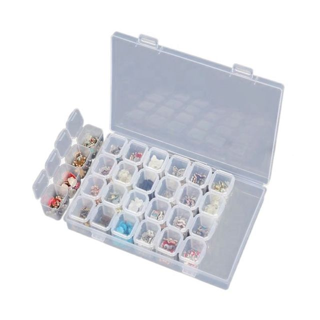 Junejour28 Grids Makeup Organizer Storage Box Nail Drill Plastic Box Cosmetic Box Lipstick Jewelry Box Case Holder Display Stand