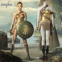 Sensfun Wonder Woman Costume Cosplay Suit Fancy Outfit Full Set Halloween Costume Movie Superhero Adult Women Custom Made