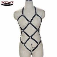 BODY CAGE Women Sexy Black Bondage Body Harness Spike Garter Belt Set Straps Lingerie Goth Erotic Burlesque skirt Festival Dress