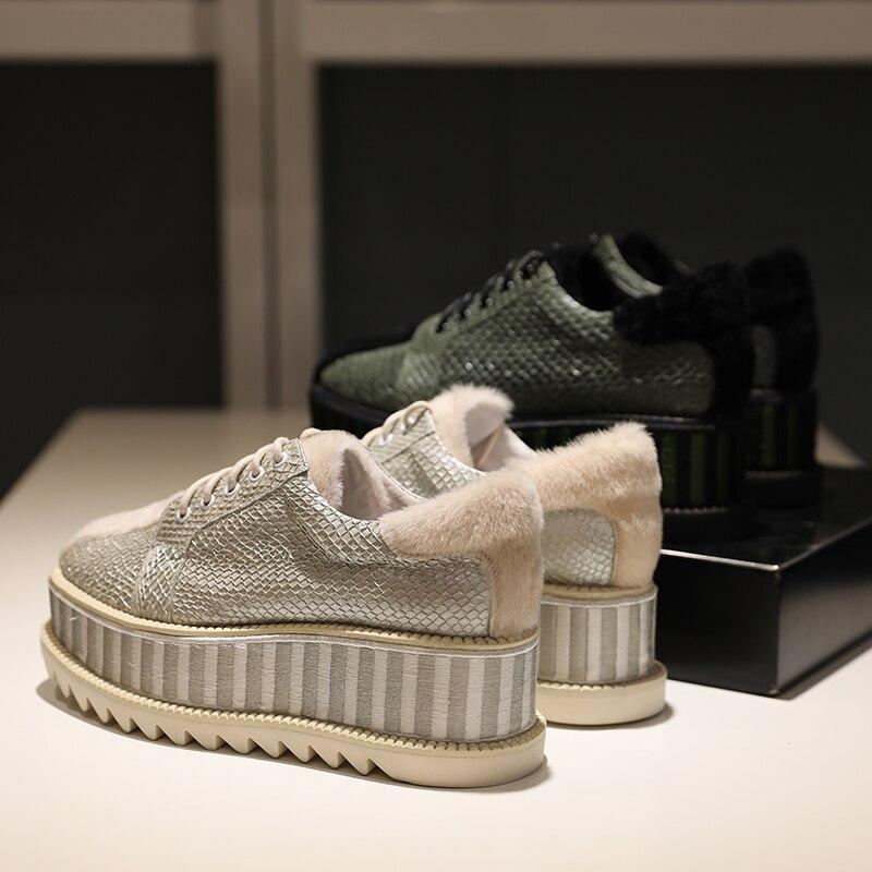 Réel 1 Chaussures Cheveux forme Poisson Muffin Tête Automne De Plate 2018 Peau Femmes Daren 2 Cuir En Carrée Nouvelle Des EnqxOU6