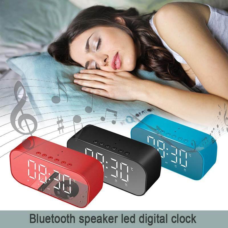 online shop usb led flame lights bluetooth speaker outdoor portable bluetooth 4 2 portable wireless bluetooth speaker column subwoofer music sound box led time snooze alarm clock