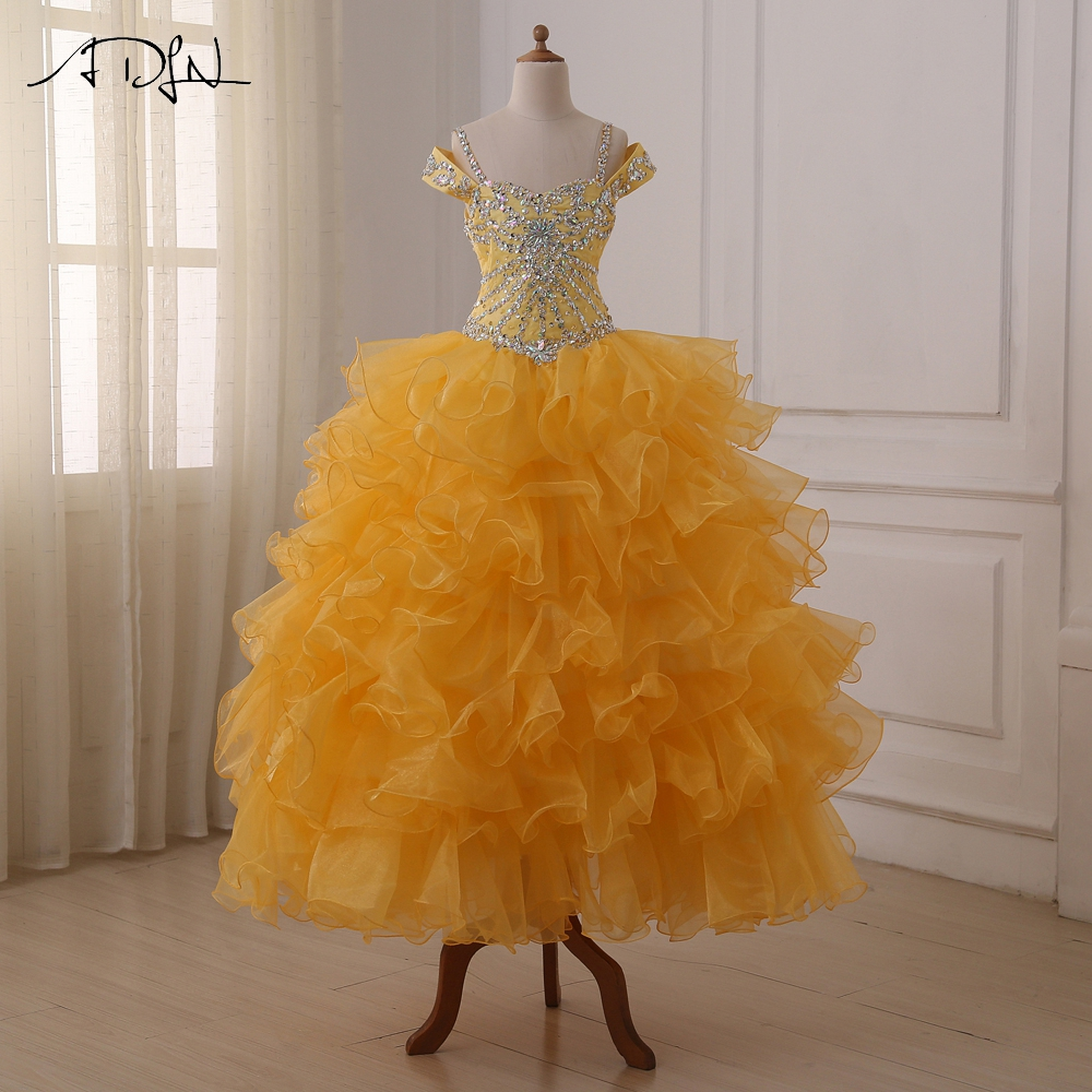 ADLN High Quality   Flower     Girl     Dresses   Ruffled Organza Beads Sequin Crystals Floor Length Ball Gowns Kids Pageant   Dress   Custom