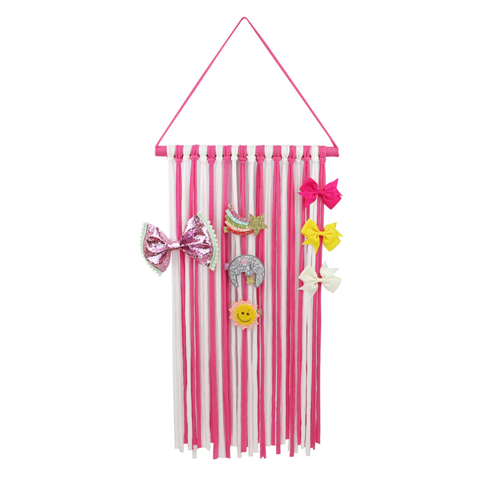 Fashion Striped Ribbons Hanger Hairbow Holder Hair Bow Clips Storage Girls Hairpins Barretes Holder for Hair Accessories