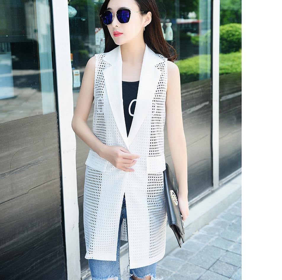 Dámské bílé černé dlouhé vesty kabát bez rukávů bunda Evropského stylu Office Lady Elegant Long Outerwear Casual značky