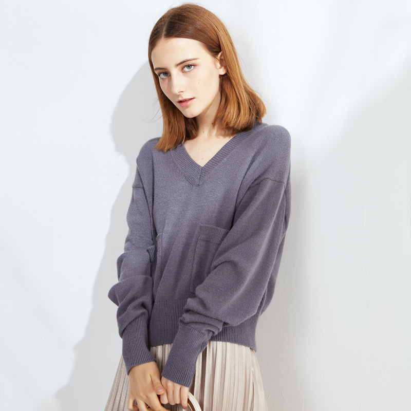 High Quality Normcore Women V Neck Thick Sweater Loose 2 Pockets Knitwear Warm Winter Clothing Solid Casual Pull Over Sweather