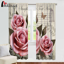 Miracille Pink Floral Curtains For Living Room Bedroom Window Drapes 1-2 Pieces Chic Flowers Roses Curtain For Girls Bedroom(China)
