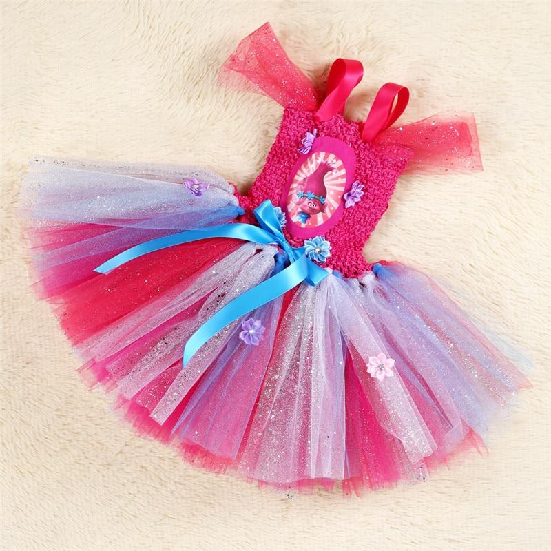 Image 4 - Troll Poppy Tutu Dress Baby Girl Tulle Princess Dress Kids Halloween Cosplay Costume Girl Festival Birthday Party Cartoon Dressprincess dresstutu dresscartoon dress -