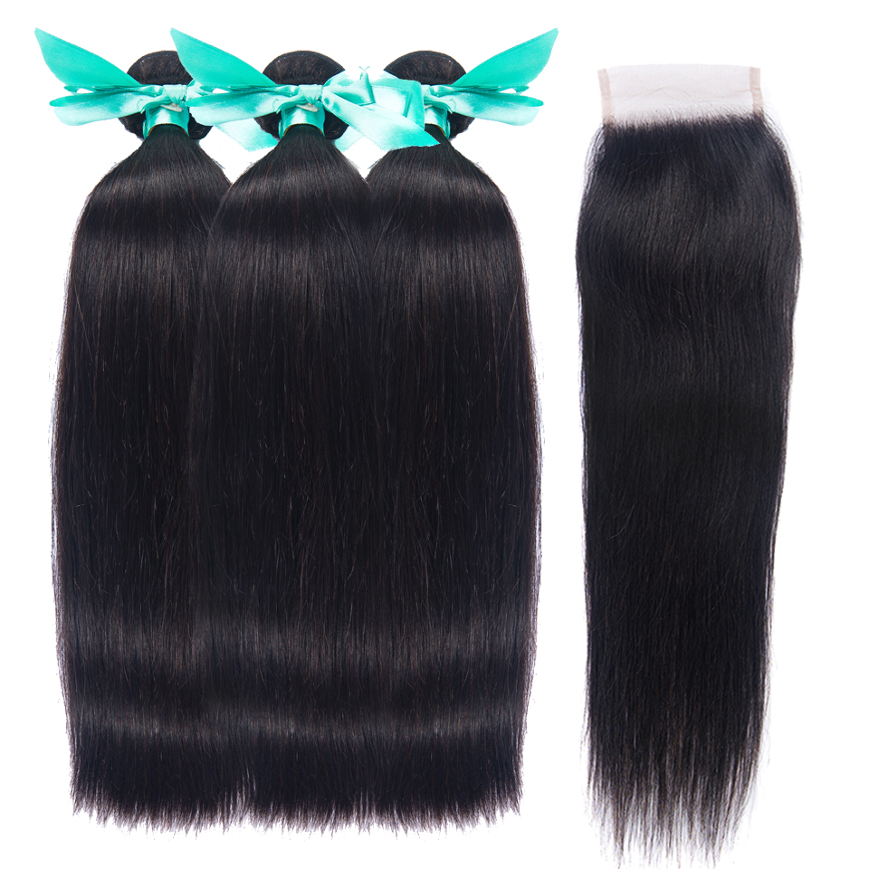 Straight Bundles With Closure Brazilian Hair Weave Bundles With Closure OYM Human Hair Bundles With Closure