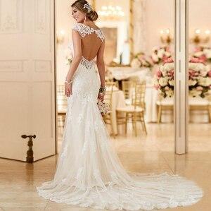 Image 2 - Ryanth ราคาถูก Vestido de noiva เซ็กซี่เปิดด้านหลังลูกไม้แต่งงานชุดเมอร์เมด 2019 ยาวรถไฟ Gowns แต่งงาน Robe De mariage