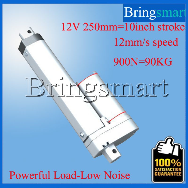 ФОТО Wholesale 10 Inch Electric Linear Actuator 12-48V DC 250mm 10 Inch Stroke Tubular Motor 900N 90KG Load 5-40mm/s Customized Speed