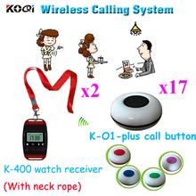 Bezprzewodowy dzwonek recepcyjny System garnitur dla otrzymać telefon zwrotny od kelner klienta w czasie dostawy (2 sztuk zegarek + 17 sztuk otrzymać telefon zwrotny od przycisk) tanie tanio Ycall K-400+K-O1plus Wireless Call Bell System 300m in open area 60*60*22mm 65*44*19mm 433 92mhz