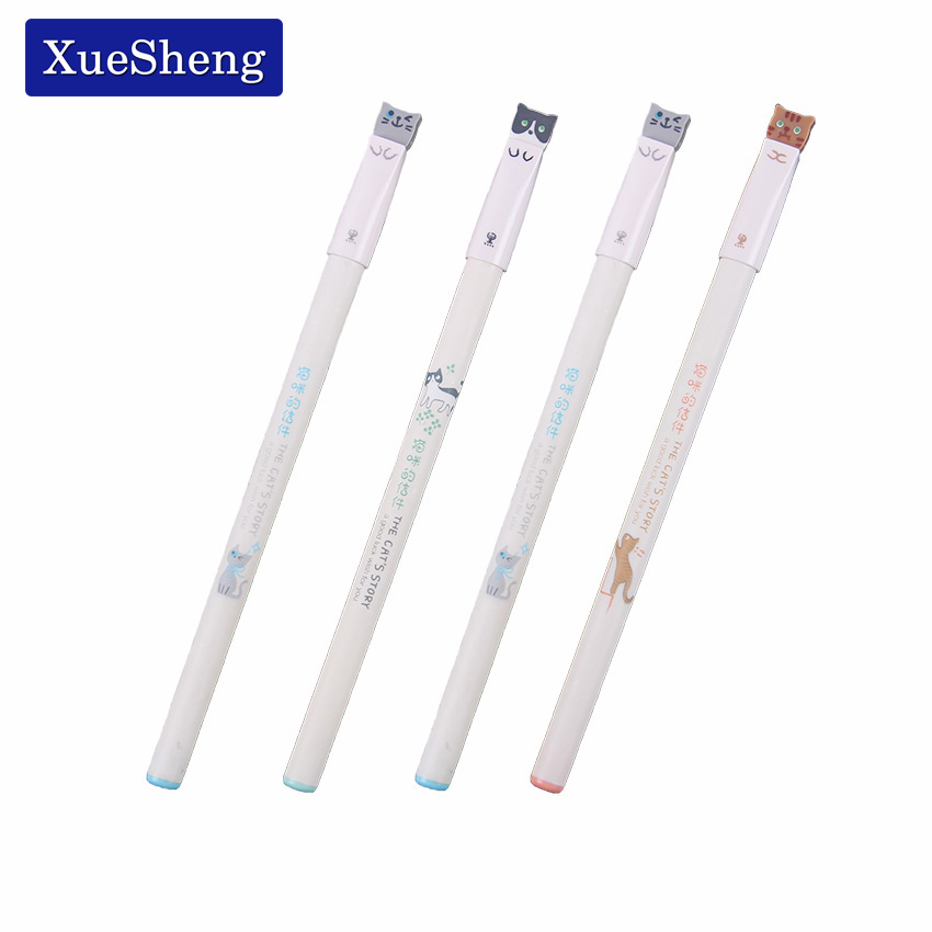3 PCS Cute Kawaii Stationery Cute Cat Letters 0.38mm Gel Pen Needle Full School Supplies Mail Canetas Boligrafos Stationery