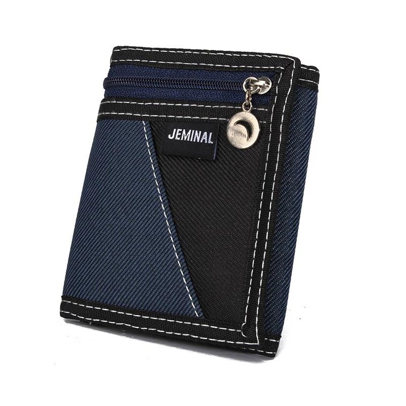 KUDIAN BEAR Canvas Fashion Men Wallets Casual  Trifold  Boy Purse Vertical Patchwork Design  Male Card Holder -- BID048 PM49