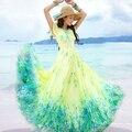 Bohemia Playa Vestido de Verano de manga corta de Color Amarillo Vestido de Fiesta Elegante Slim Fit Larga de La Gasa Maxi Dress Plus Size Envío Gratis