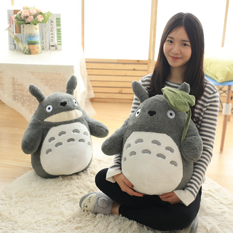 1pc 25/35/50cm Kawaii My Neighbor Totoro Plush Toys Stuffed Soft Anime Character Totoro Doll With Lotus Leaf/Teeth Kids Toys