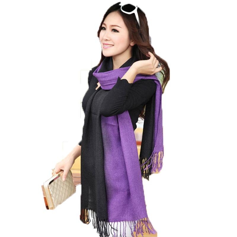 2019 Fashion Winter Scarf Pashminas For Women Gradient Cashmere Scarves Double Color Wrap Shawl Scarfs Echarpe Foulard Femme