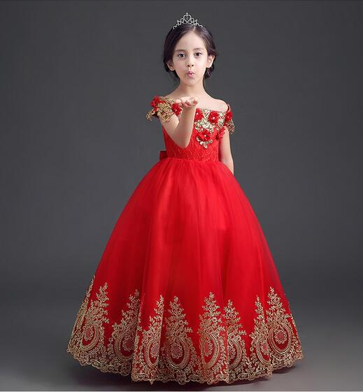 2017 Luxury Beading Appliques Embroidery Ball Gown Strapless Red Long Flower Girl Dresses First Communion Dresses For Girls attractive splicing strapless flower embroidery women s corset