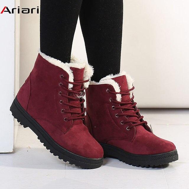 54c263549044 Women Snow Boots Winter Warm Shoes Ladies Flat Ankle Boots Fur Plush Suede Platform  Shoes Female Fashion Footwear Big Size 35-44