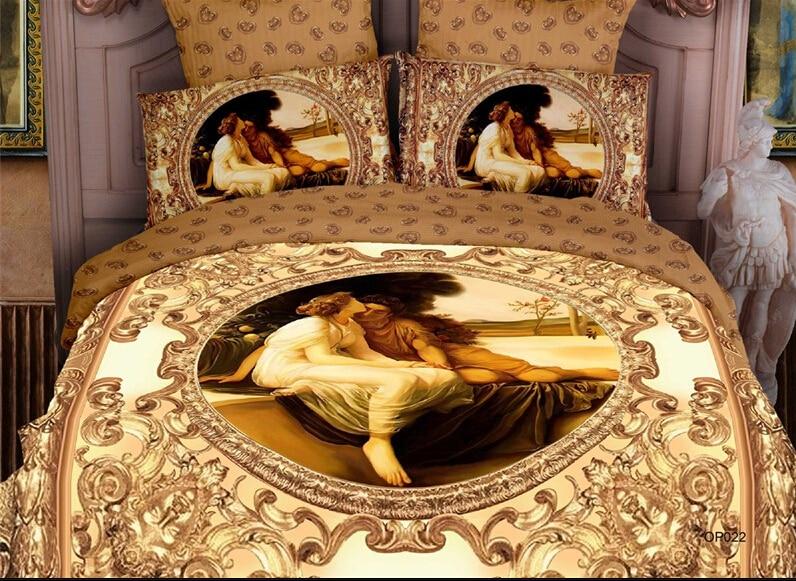 Golden Europe Royal Home Decor Luxury Bedding Set Full Queen Size Bed Egyptian Cotton Bedspread Duvet