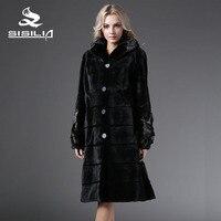 SISILIA 2016 Winter Women S Dyed China Mink Full Pelt Fur With Mink Fur Collar Coats