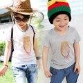Verano 2017 de los bebés de impresión buho de la manera del verano de manga corta Camiseta niñas camisetas Con Cuello En V t-shirts casual para niñas