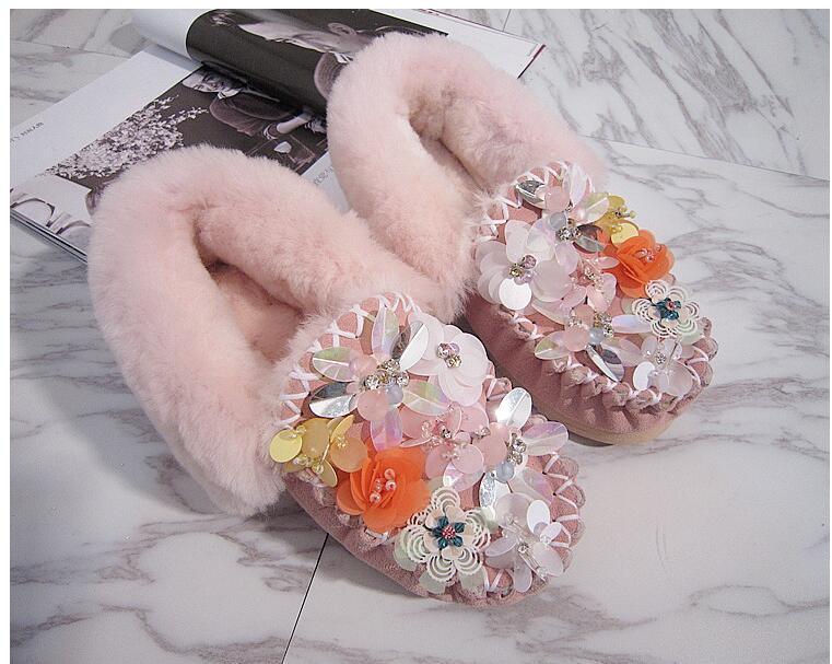 Loco Harajuku 1 Guisantes Con Otoño Zapatos Mujer Lentejuelas Casuales Plana Piel Modelos Algodón Invierno Diamantes De E 4dFdwr