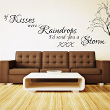 new warm quote KISS home decal wall sticker /removable wedding decoration living room decor/ 3d wallpaper VA8435