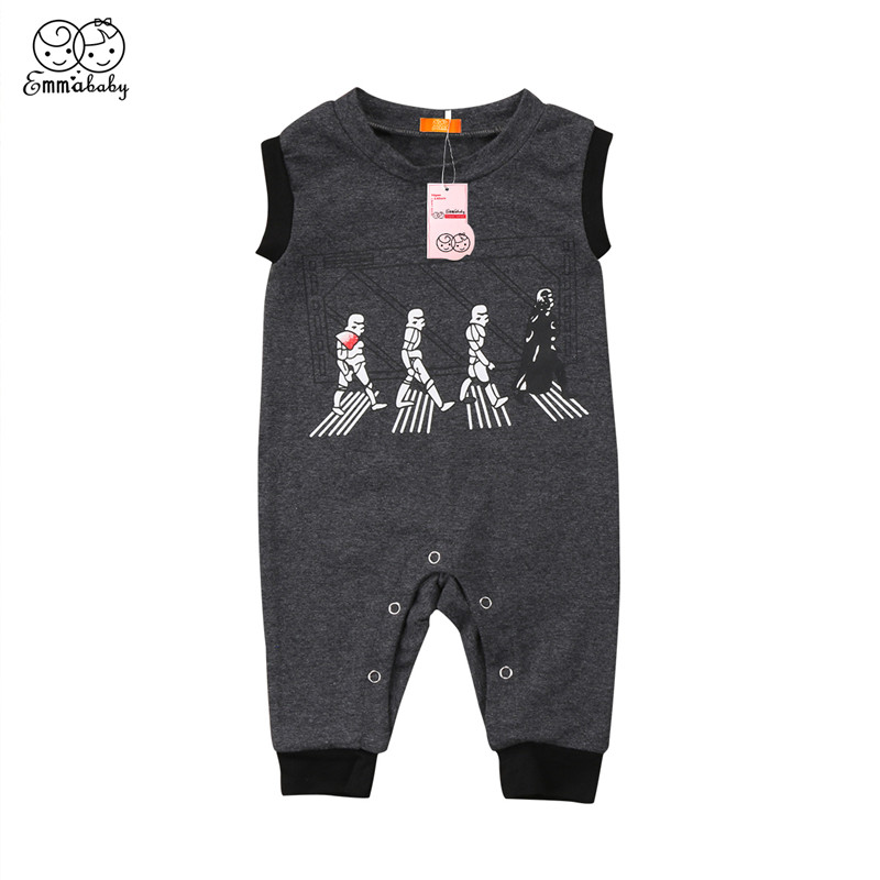Summer Baby Clothing Newborn Infant Baby Boy Girl Sleeveless Romper 2018 Bebes Cotton Jumpsuit Casual Cartoon Print Romper 0-2T