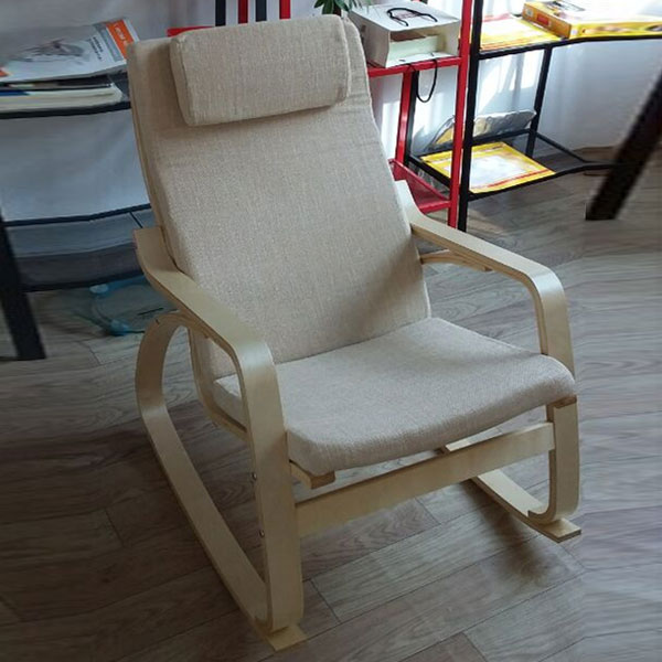 Comfortable Relax Rocking Chair Gliders Lounger Linen Fabric Cushion Seat Living Room Furniture Modern Adult Rocking Chair Wood rocking chair wood presidential rocker lving room furniture modern style adult large rocker rocking chair indoor outdoor design
