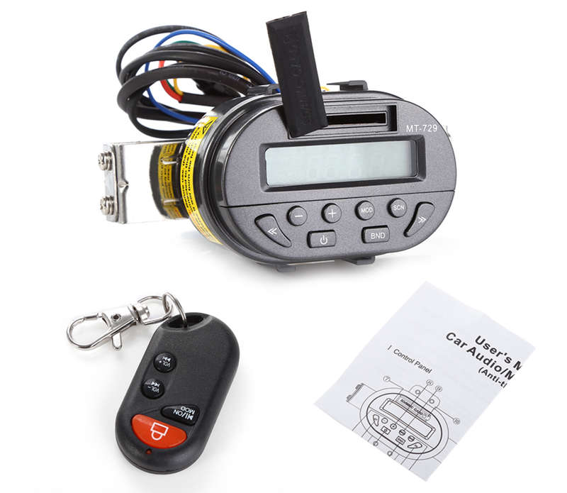 AOVEISE Mt729 Dc12V Motorcycle Load Mp3 Audio Handlebar Remote Control Audio Waterproof Burglar Alarm Audio With Display Radio