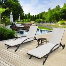 Ensemble Chaise longue d'extérieur en rotin et osier, meuble moderne, repose-soleil d'extérieur réglable avec Table