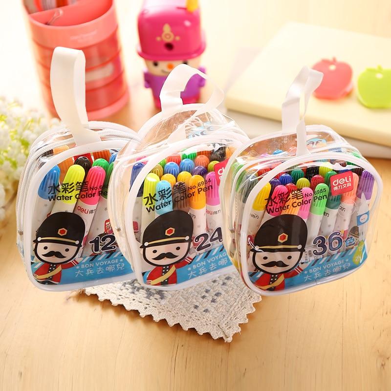 12/24/36 Colors/Lot Deli Water Color Pen Non-toxic Painting/Marker Pen for Children Free Shipping deli s557 marker pen
