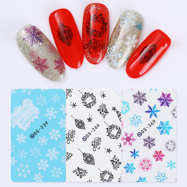 Christmas Snowflakes Nail Water Decal Colorful Transfer Sticker