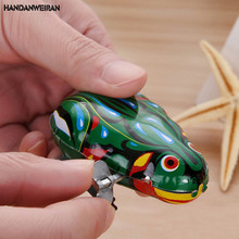 Free Shipping 1PCS Classic Jumping Vintage Frog Wind Up Clockwork Toy Children Kids Gifts Educational