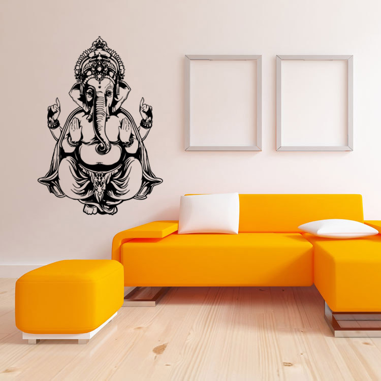 Large Wall Stickers For Living Room India Red Decorations Rooms Buddhist Art Ganesh Removable Waterproof Home Decoration Decal Mural 6 Colors Each