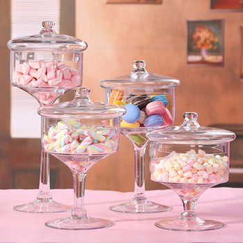 European slim tall Transparent Glass candy jar with Wedding dessert decoration candy, snacks, dried fruit jar 4PCS/set