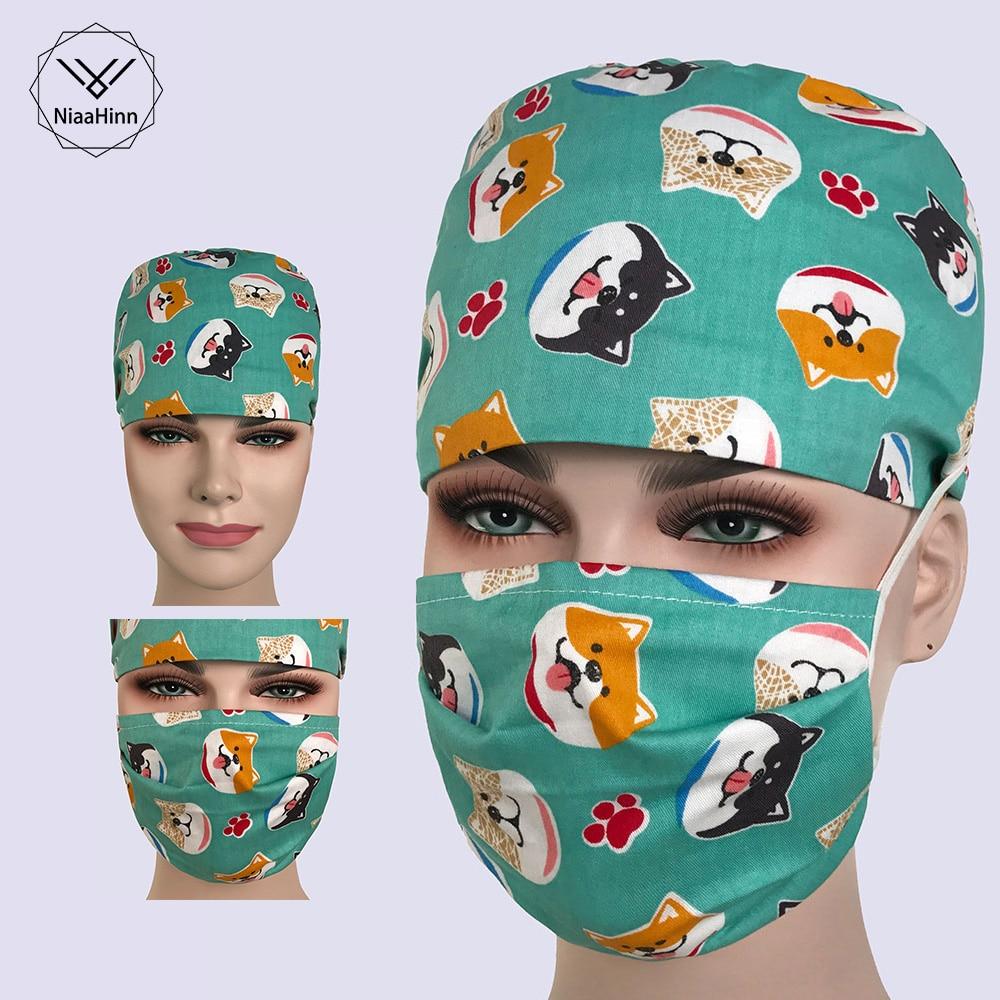 Beautician Dentist Surgery Cap Akita Dog Print Flat Top Skulls Caps Cotton Surgical Scrub Caps Veterinary Medical Hats Cheap
