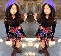 SQ177 Frete grátis 2015 new vestido da menina de terno vestido de princesa floral Europeu e Americano crianças set crianças roupas definir varejo
