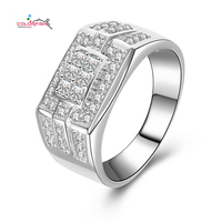 COLORFISH Solid 925 Sterling Silver Men Ring Fashion Jewelry Multi Shape Channel Set Princess and Round Cubic Zircon Male Rings