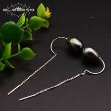GLSEEVO Handmade Original Design Natural Fresh Water Black Pearl Drop Earrings For Women Piercing Fine Jewelry GE0697