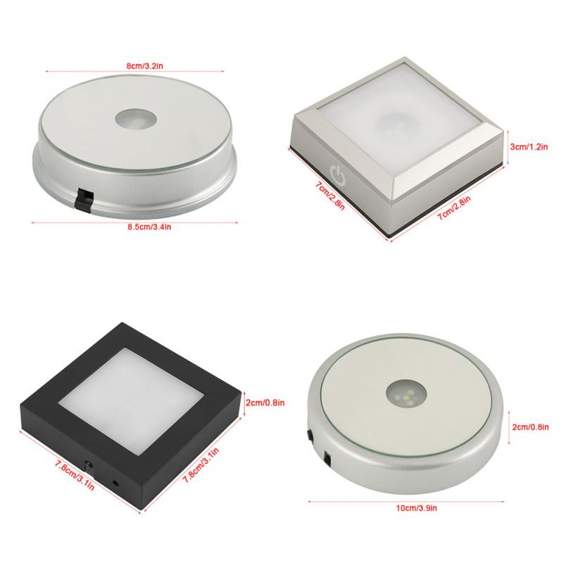 360 Degrees High Quality Colorful Four Types LED Light Crystal Display Laser Stand Base