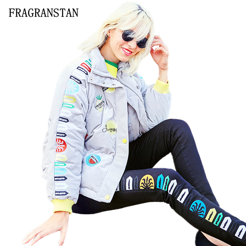 Winter Thicken Keep Warm Women Down Jacket Female Fashion Letter Fruits Embroidery Stand Collar Preppy Style Short Coats JQ395