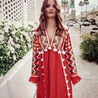 Tassel Trim Ethnic Long Dress Women Red Embroidery Long Sleeve V neck Dresses Ladies Sexy Loose Hippie Maxi Dress 2018 Autumn