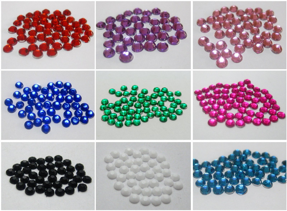 1500 Acrylic Nail Art Round Flatback Rhinestone Gems 3mm with Wheel 12 Colour