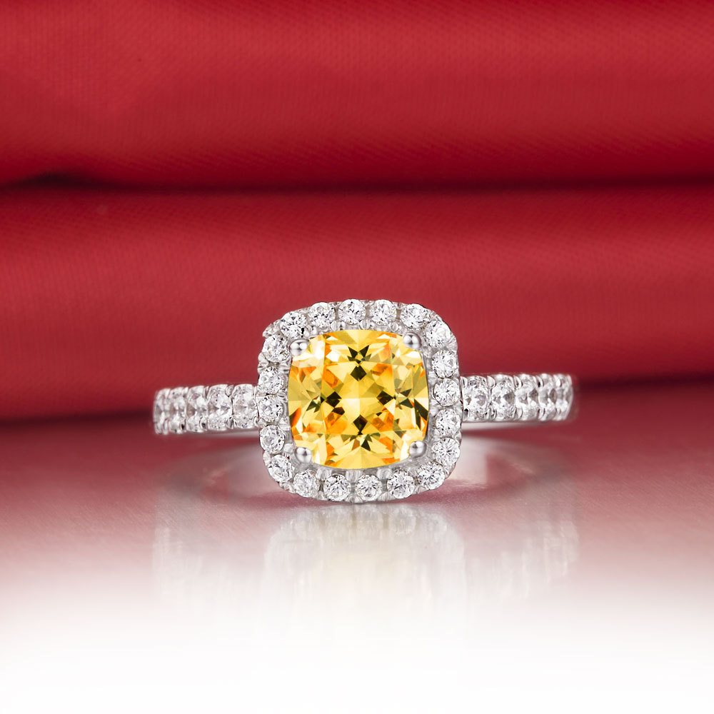 Upscale Princess Cut Cushion Shape Yellow Syntic Diamonds Engagement Ringa Ok Bridal Jewelry Gift G Engagement Rings From Princess Cut Cushion Shape Yellow Syntic Diamonds