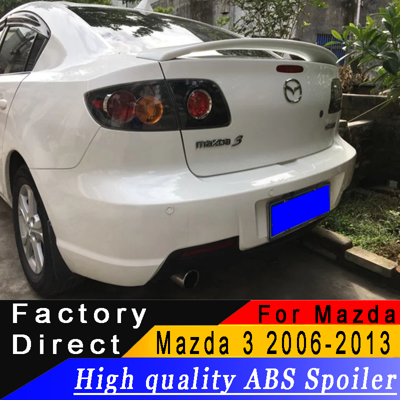 For Mazda 3 M3 2006 to 2013 Sedan Rear wing spoiler high quality ABS Material spoiler Primer or any color for Mazda