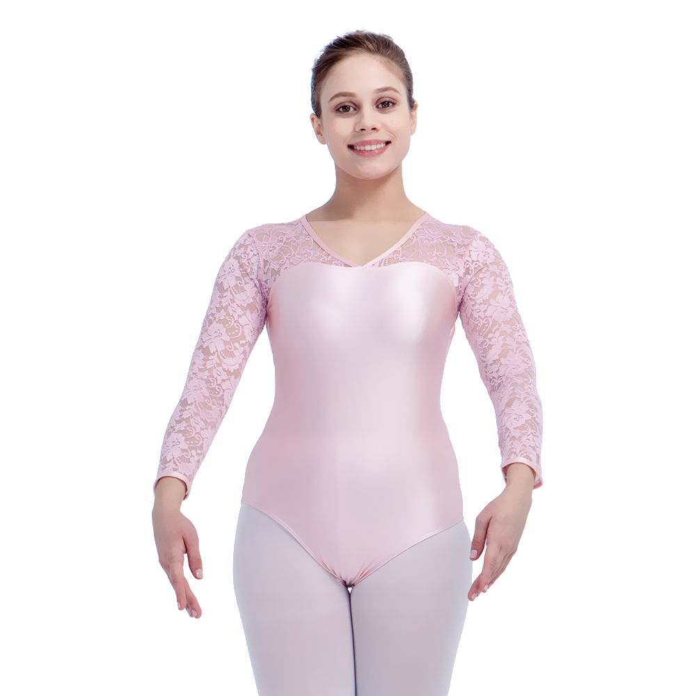 92ba4df57 Pale Pink NylonLycra Lace Long Sleeve Ballet Leotard Girls Dancewear ...